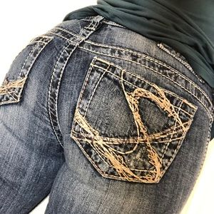 Silver Distressed Bootcut Jeans